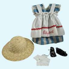 Charming Vintage Doll Dress and Pinafore & Shoes & Hat, 1960's