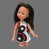 Vintage Furga 11 1/2 Inch Fashion Doll, All Original, 1970's