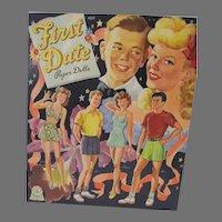Vintage 1944 First Date Paper Doll, Merrill, Mint-Un-Cut!