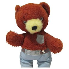 "1960's Knickerbocker Smokey The Bear Plush 15"" Bear & Paper Accessories"