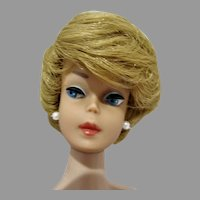 Vintage Blond Barbie Bubble Cut with Dark Pink Lips, 1963