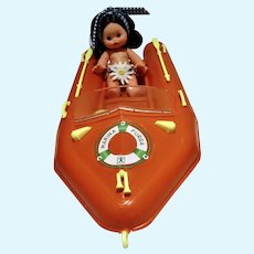 Rare Mini Furga Doll in Motor Boat, Tina & Tilly, 1960's