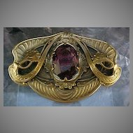Brass and Amethyst Color Stone, Brooch