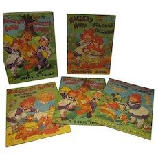 MIB Set of 4 Raggedy Ann & Andy Coloring Books, Saafield Pub., 1945