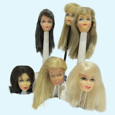 Vintage Mod Barbie & Friends Head Lot, Mattel 1960's