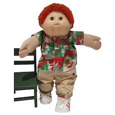 Vintage Male Cabbage Patch Doll with Red Hair & Original Outfit, 1982