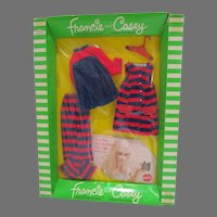 NRFB Mattel Francie Outfit, Striped Types, 1970