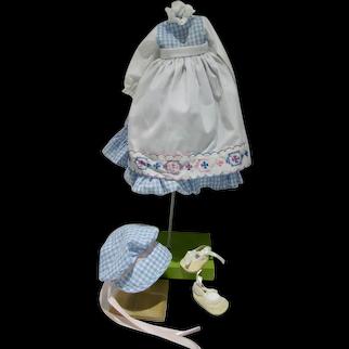 Charming Gingham Doll Dress w/Bonnet & Shoes