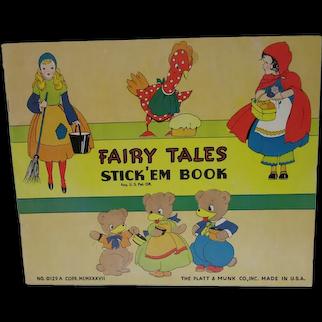 Vintage Fairy Tales Stick 'Em Book, Un-Used, 1937