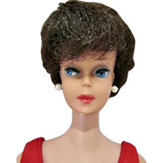 Vintage Mattel Brunette Barbie Bubble Cut w/ \Pink Lips, 1963