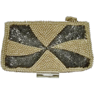 Vintage Ladies Faux Pearl and Beaded Evening Bag, 1950's