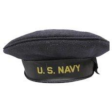 Vietnam Era 1962 Wool U.S.Navy Flat Hat & Navy Patch