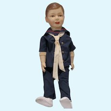 VIntage 1930's 29 Inch Composition Boy Doll with Cloth Body