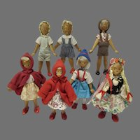 Collection of Seven, Vintage Wooden Polish Dolls, 1950's