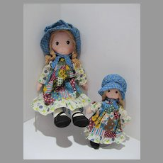 Two Original Hobbie Holly Cloth Dolls, Knickerbocker, 1970's