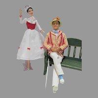 Charming Mattel Mary Poppins and Bert Dolls, 1999