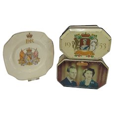 Vintage Souvenir Pieces from the 1953 Coronation, Tins & Plate