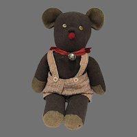 Charming Vintage Cloth Wool Bear w/Button Eyes, 1940's