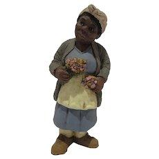 Black American Carved Resin Figure, JS Tallman, 1992