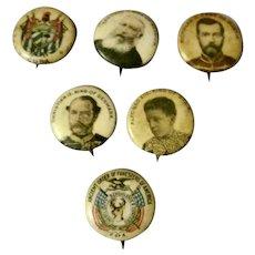 Lot of 6 Antique Pepsin Gum Button Pin Backs Circa 1800's