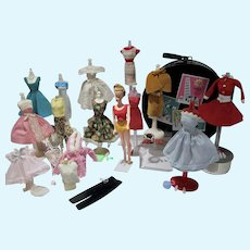 Vintage Fashion Doll Clone with Full Wardrobe, Accessories and Case, 1960's