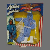 Vintage NRFB Action Jackson Snowmobile Outfit, Mego, 1971