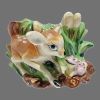 Charming Bambi Ceramic Planter, 1940's