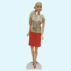 VIntage Mattel Platinum Bld. TNT Stacey Doll in Dressed-Up Outfit, 1968