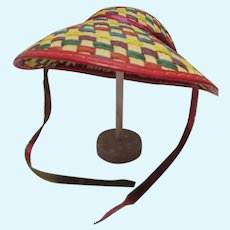 Vintage Cissy Size Multi Colored Straw Doll Hat, 1950's