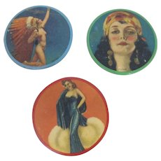 """1940's Novelty """"Girlie"""" Purse Mirrors"""