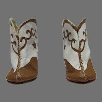 1950's Brown & White Doll Cowboy Boots