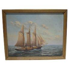 Vintage Listed Artist, E.C. Clark Oil on Board Painting, Cape Cod