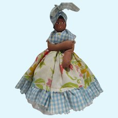 Black Americana Cloth Doll, Hand Made, Painted Face, 1950's