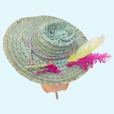 Vintage Green Straw Doll Hat with Feathers, 1950's