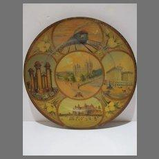 Antique 1911 Salt Lake Scenic Art Plate, Tin Litho, Mormon Temple