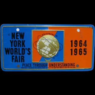 1964 New York World's Fair Raised Unisphere Mini Bicycle License Plate, New