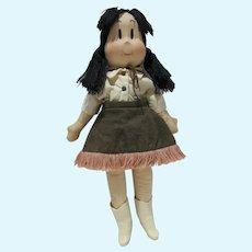 Rare Vintage Georgene Little Lulu Cowgirl Cloth Doll , 1944