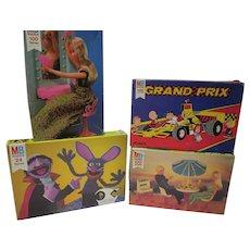 Vintage Lot of Milton Bradley Jig Saw Puzzles, Barbie, Peanuts & Sesame Street, 1970's