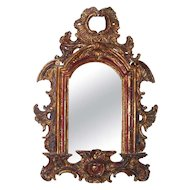 Late Baroque Carved Mirror Of Paint And Parcel Gilt
