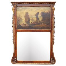 English Walnut Giltwood Trumeau Mirror with Seascape Oil , Georgian