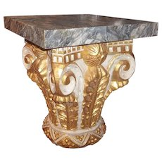 Giltwood and Paint Corinthian Column Capital Fragment Now a Table