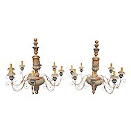Mid-20th Century Pair of French or Italian Wood Painted Chandeliers