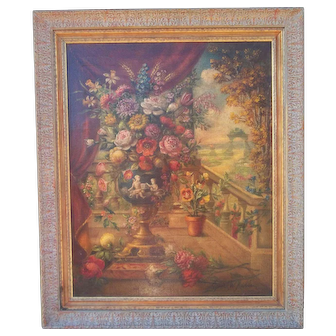 Italian  Floral Oil on Canvas
