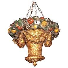 Antique Painted and Gilt Uplight Hanging Basket Chandelier Lantern
