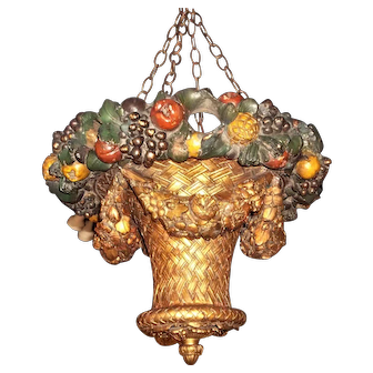 Painted and Gilt Uplight Hanging Basket Chandelier Lantern