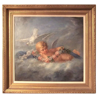 Boucher Styled Cherub or Putti Frolicking Oil on Canvas