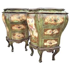 Pair of Venetian or Italian Floral Decorated Painted Commode Consoles