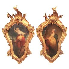 Pair of Allegorical Italian or Venetian Oils in Carved Antique Giltwood Frames