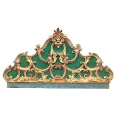 Venetian or Italian Giltwood Robustly Carved Antique Headboard in Rococo Style