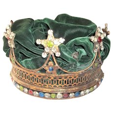 Jeweled Paste Gilt Toned Mardi Gras or Debutante Crown